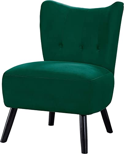 Benjara Upholstered Armless Accent Chair with Flared Back and Button Tufting, Green