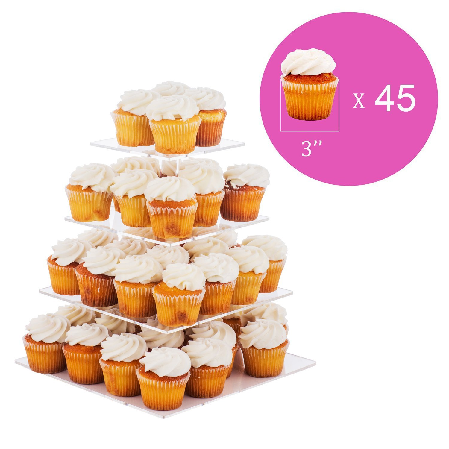 Jusalpha 4 Tier Square Wedding Acrylic Cupcake Tower Stand-Cake Stand-Dessert Stand 4S