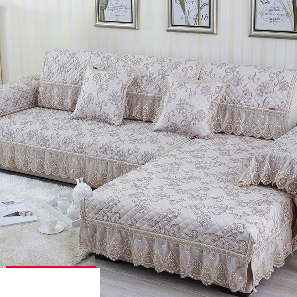 JINGJIE Non-slip fabric sofa cushion Linen lace cushion European style seasons of solid wood sofa towel-C 98x270cm(39x106inch)