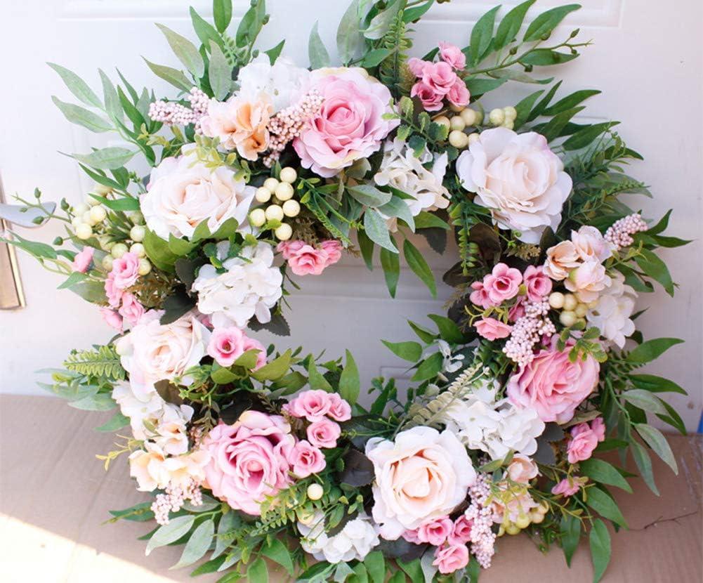 Decorazione Domestica YOUNICER Ghirlanda Artigianale di Ghirlanda di Fiori Rosa Artificiali da 22  per Porta dingresso Parete Matrimonio