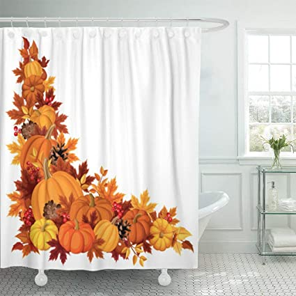 Emvency Fabric Shower Curtain Curtains With Hooks Brown Thanksgiving Corner Pumpkins And Autumn Leaves Colorful