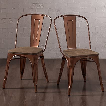 Bon Tabouret Brushed Copper Wood Seat Bistro Chairs (Set Of 2)