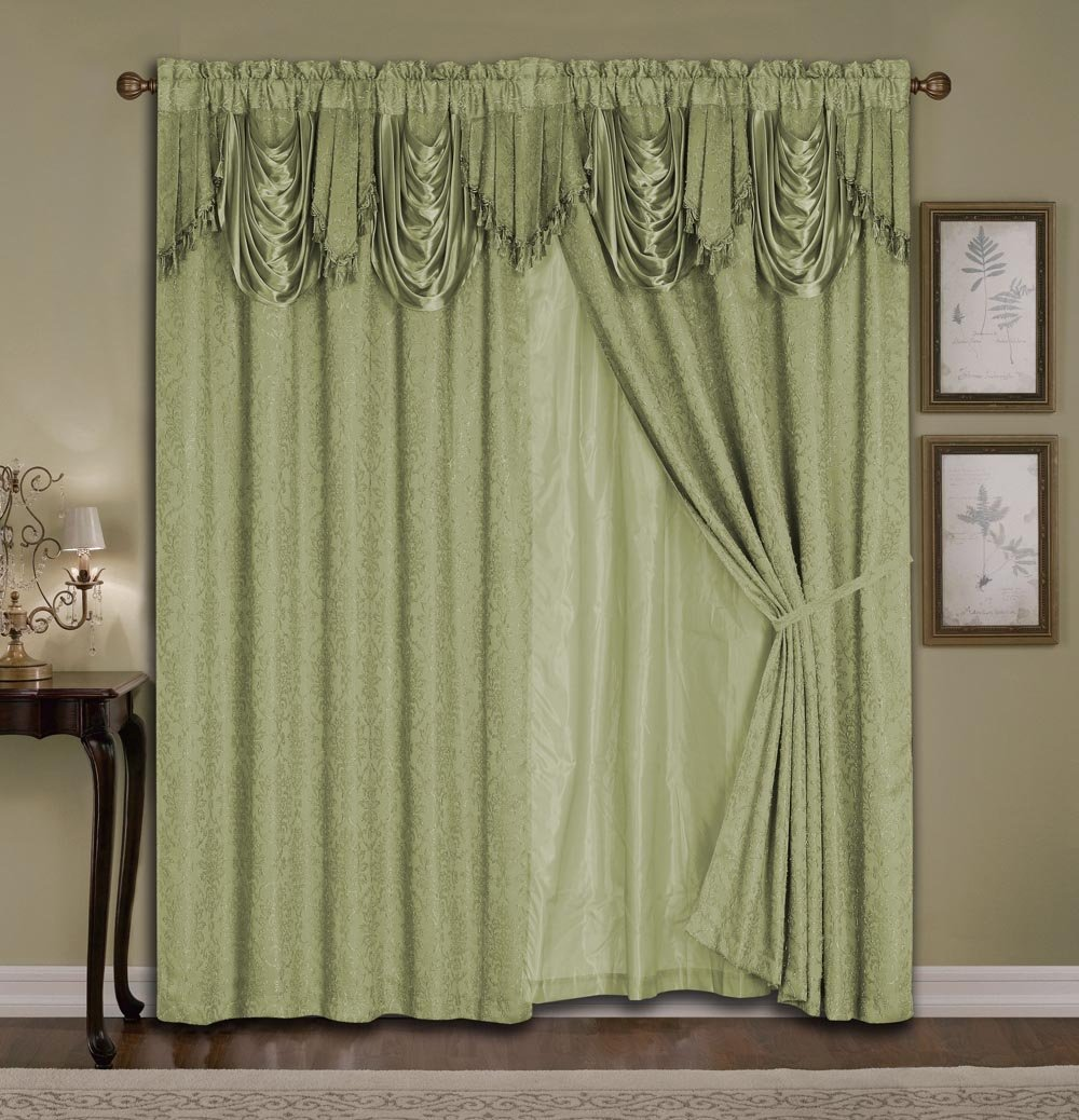 Ideal Amazon.com: Luxury Jacquard Curtain Set. 4 Piece Sage Drapes with  VB26