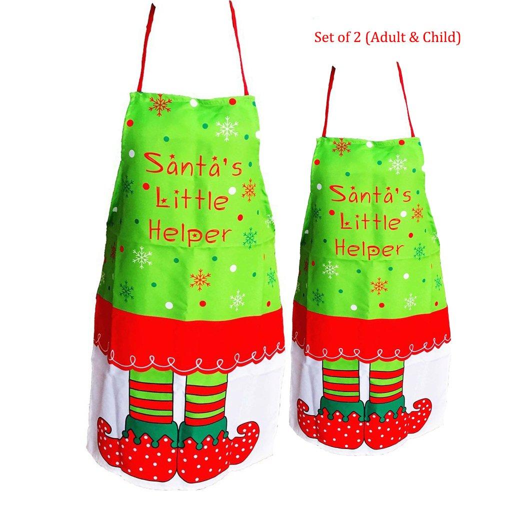 ラサ( 2pcsクリスマスエプロン大人用クリスマスエルフパターンと子、クリスマスキッチン装飾   B076J61VS4