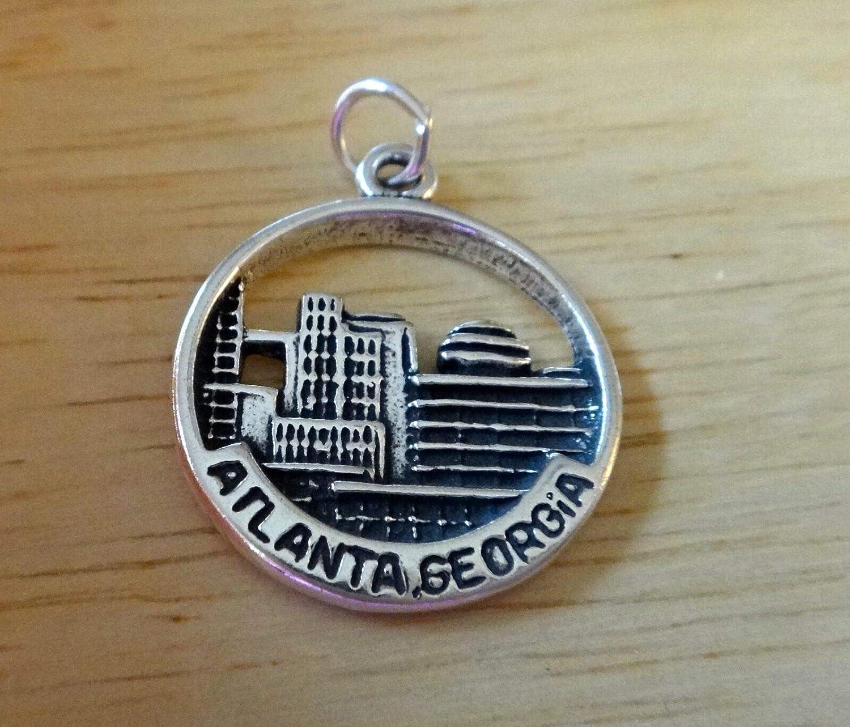 Sterling Silver 19mm says Atlanta Georgia with Skyline Charm