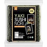Organic Yaki sushi nori(NuEats), 10 Full sheet, Gold Grade, Roasted seaweed, Product of South Korea, USDA Organic, Vegan, Kos