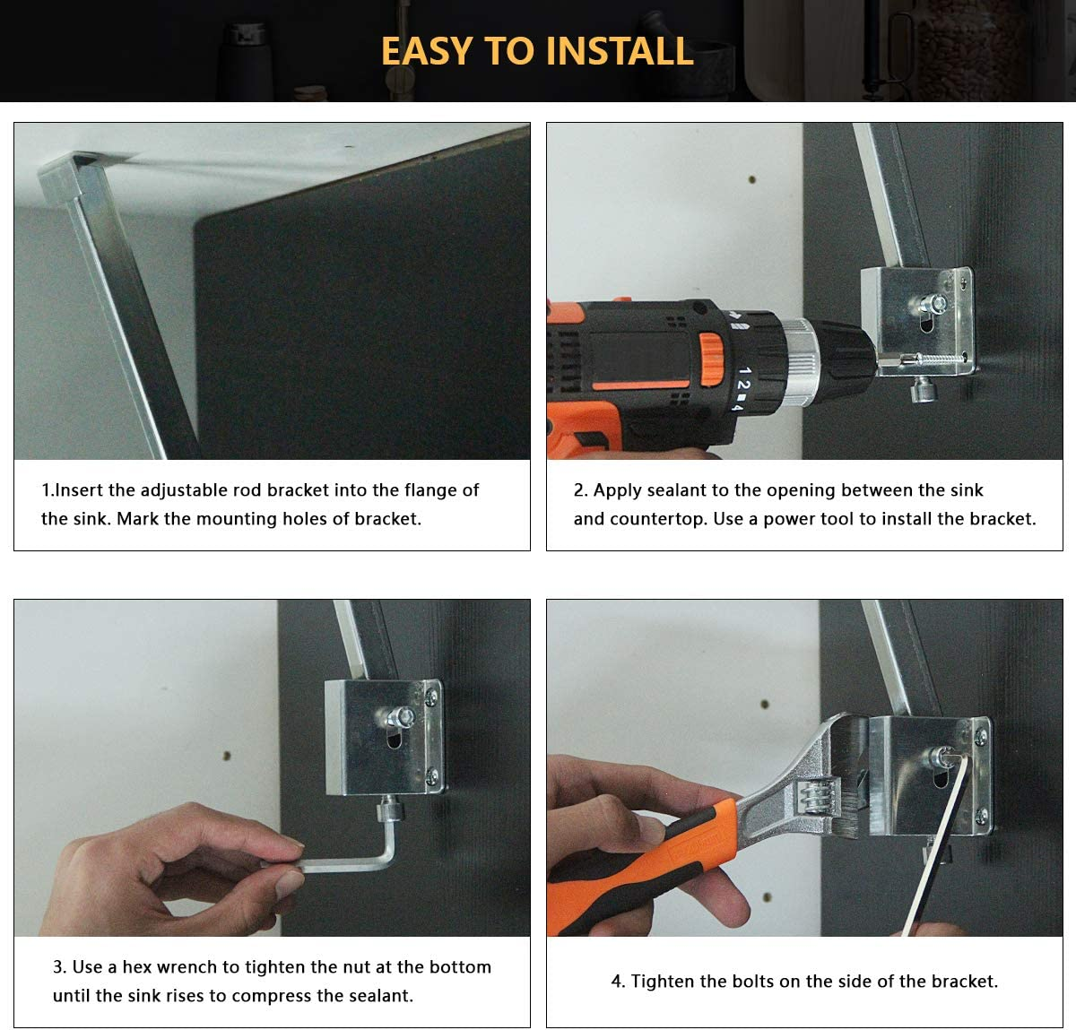 A-KARCK Sink Repair System Galvanized Surface Not Easy Rust Sink Brackets Supports the Sink Quickly and Easily