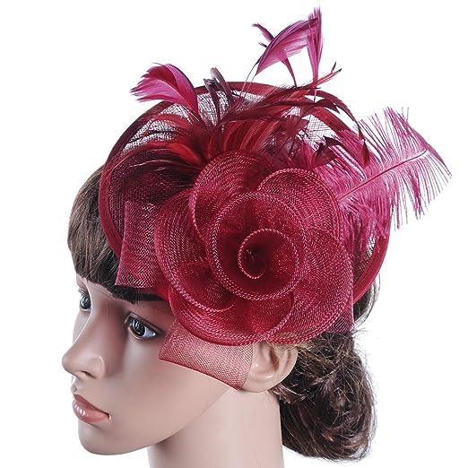 c368c8ecf5e BessWedding Party Burgundy Fascinator Hat with Wedding Feathers Hat ...