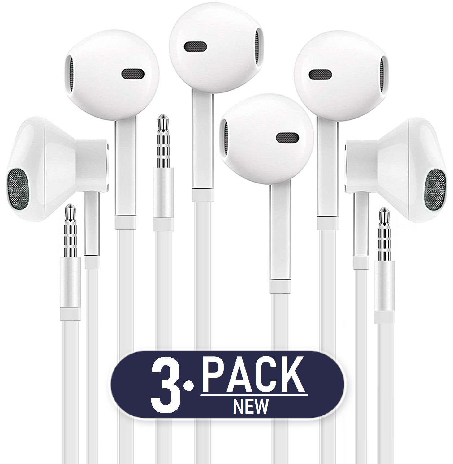 Headphones with MIC, Premium Earphones/Earbuds/Headphones [3-PACK] with Stereo Mic&Remote Control for iPhone iPad iPod Samsung Galaxy and More Nexus Android Smartphones - White