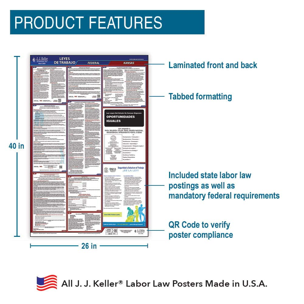 Keller /& Associates All-in-One OSHA Compliant KS State /& Federal Laminated Poster 26 x 40 Spanish for Workplace Compliance J J 2020 Kansas Labor Law Poster