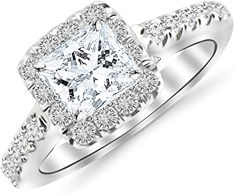 Gia Certified 1 45 Carat Princess Cut Shape Square Cushion Halo Diamond Engagement Ring With A 0 69 Carat H I Color Si2 Clarity Center Stone Amazon Com