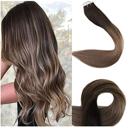 Full Shine 18 Inch Tape Ombre Hair Extensions Remy Hair Extensions Human  Hair Glue In Extensions Balayage Color 2 Fading To 6 and 18 Ash Blonde