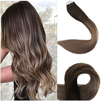 Full Shine 18 Inch Tape Ombre Hair Extensions Remy Hair Extensions Human  Hair Glue In Extensions Balayage Color 2 Fading To 6 and 18 Ash Blonde ...