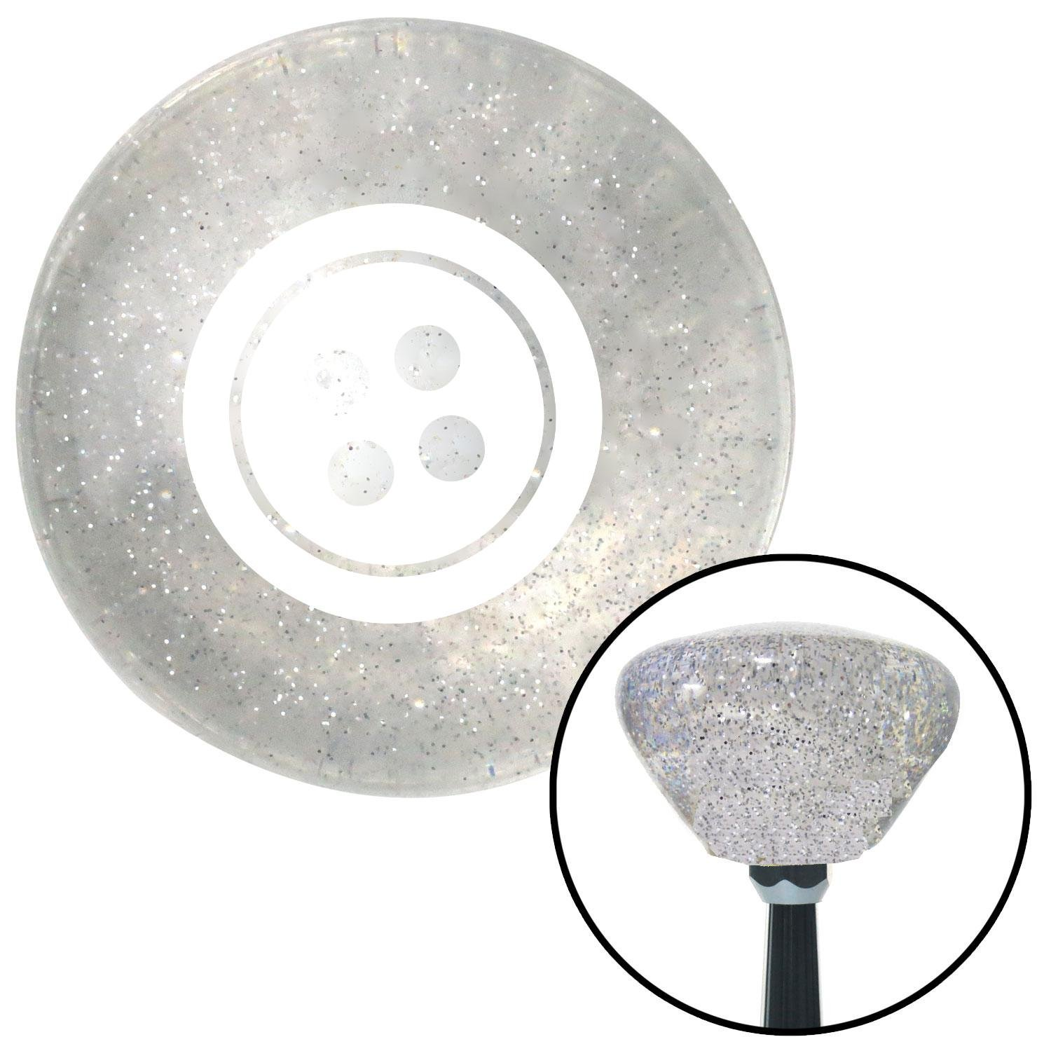 White Four Hole Button American Shifter 160820 Clear Retro Metal Flake Shift Knob with M16 x 1.5 Insert