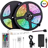 LED Light Strip 10m, Renovo LED Strip 32.8ft 300LEDs 5050SMD RGB LED Strip Lights with Remote Control and Power Supply…