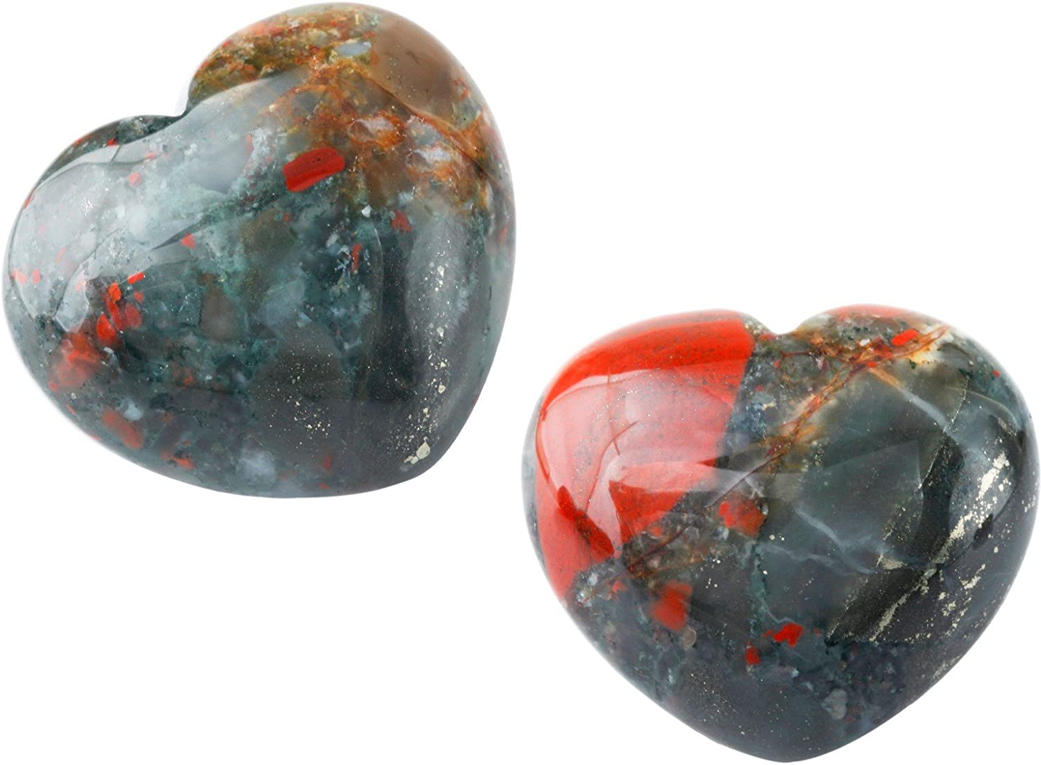 Rockcloud Healing Crystal Africa Bloodstone Heart Love Carved Palm Worry Stone