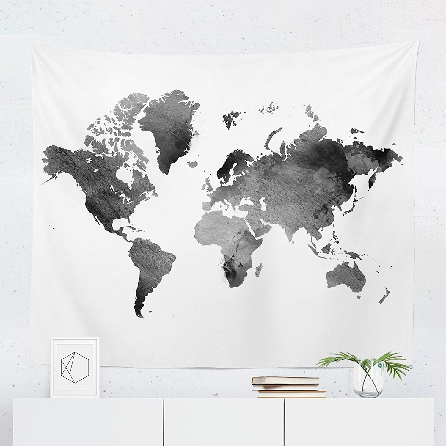 small world map tapestry Amazon Com Watercolor Black World Map Tapestry Wall Hanging Maps