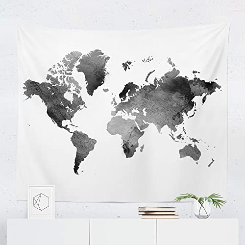 tapestry map of the world Amazon Com Watercolor Black World Map Tapestry Wall Hanging Maps