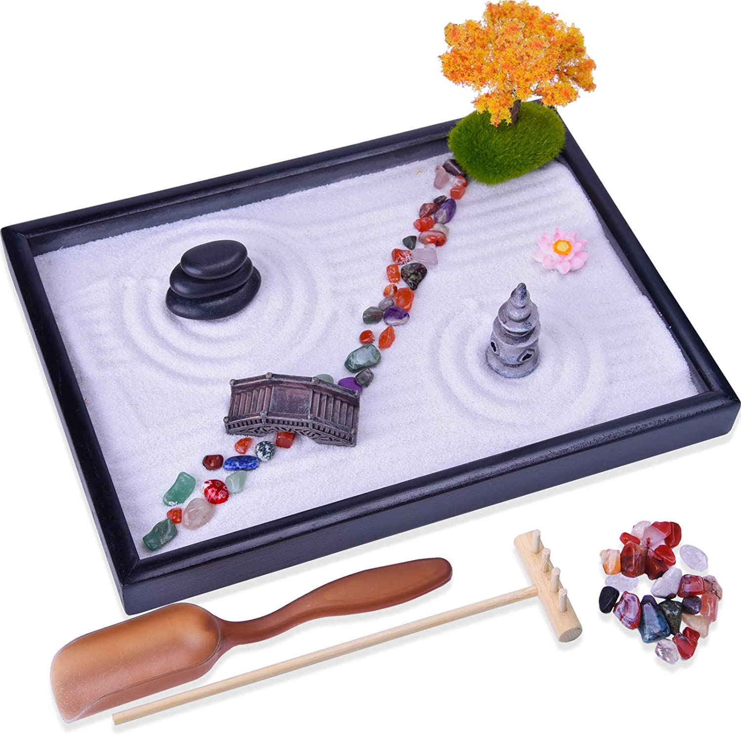 Japanese Zen Garden Kit - Mini Garden with Rock Bridge PagodaMaple Trees Colorful Agate Stones - Meditation Gift Set for Relaxation - Home & Office Desk Decor with Rake Tools and Zen Accessories