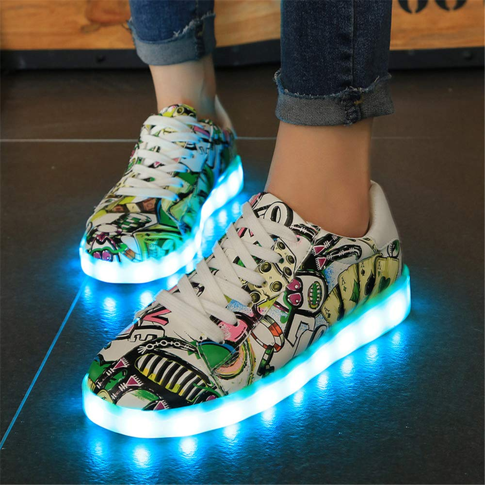 satisfied Unisex Illuminated Sneakers Skate Kids Sports Led Light Up Glowing Shoes