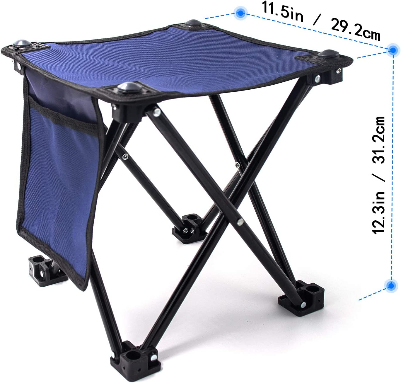 Small Folding Camping Stool, Portable Rest Seat Collapsible Slacker Stool for Outdoor Camping Walking Hunting Hiking Fishing Travel Beach Garden BBQ, Metal 600D Oxford Cloth with Carry Bag, Blue