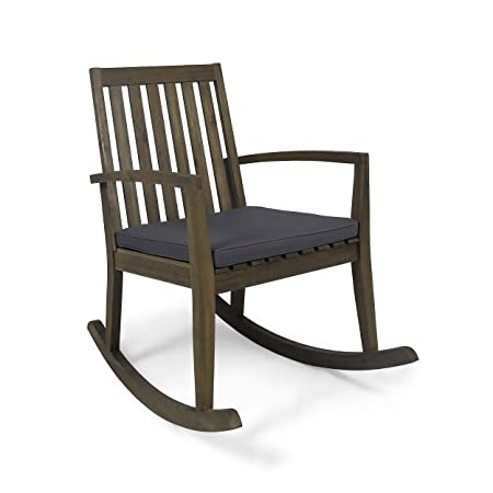 Great Deal Furniture Yvonne Patio Rocking Chair, Acacia Wood Frame, Traditional, Gray Finish with Dark Gray Cushions