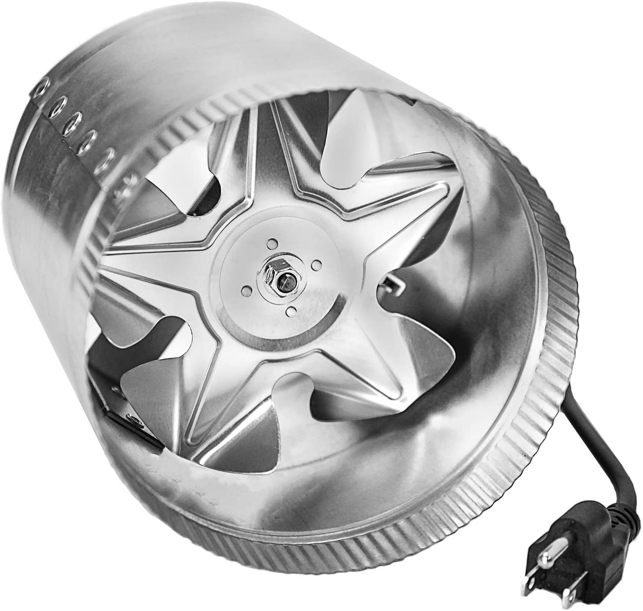 "iPower GLFANXBOOSTER6-a 6 Inch 240 CFM Inline Duct Vent Blower Booster Fan for HVAC Exhaust and Intake 5.5' Grounded Power Cord, Low Noise, 6"", Silver"