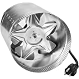 iPower 8 Inch 420 CFM Booster Fan Inline Duct Vent Blower for HVAC Exhaust and Intake 5.5' Grounded Power Cord