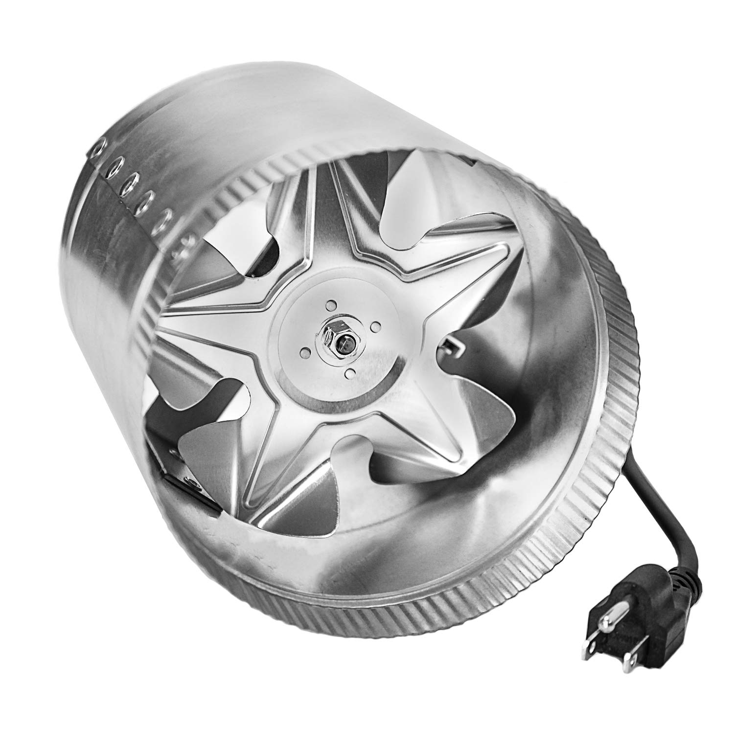"""iPower GLFANXBOOSTER8-a 8 Inch 420 CFM Inline Duct Vent Blower Booster Fan for HVAC Exhaust and Intake 5.5' Grounded Power Cord, Low Noise, 8"""""""