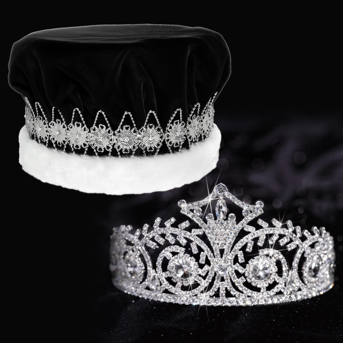 Elsa Royalty Set, 3 Inch High Elsa Tiara and Black Velvet Crown with Silver Floral Band, White Fur