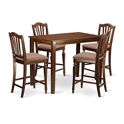 Prime East West Furniture Yach5 Mah C 5 Piece High Table And 4 Counter Height Dining Chair Set Gmtry Best Dining Table And Chair Ideas Images Gmtryco