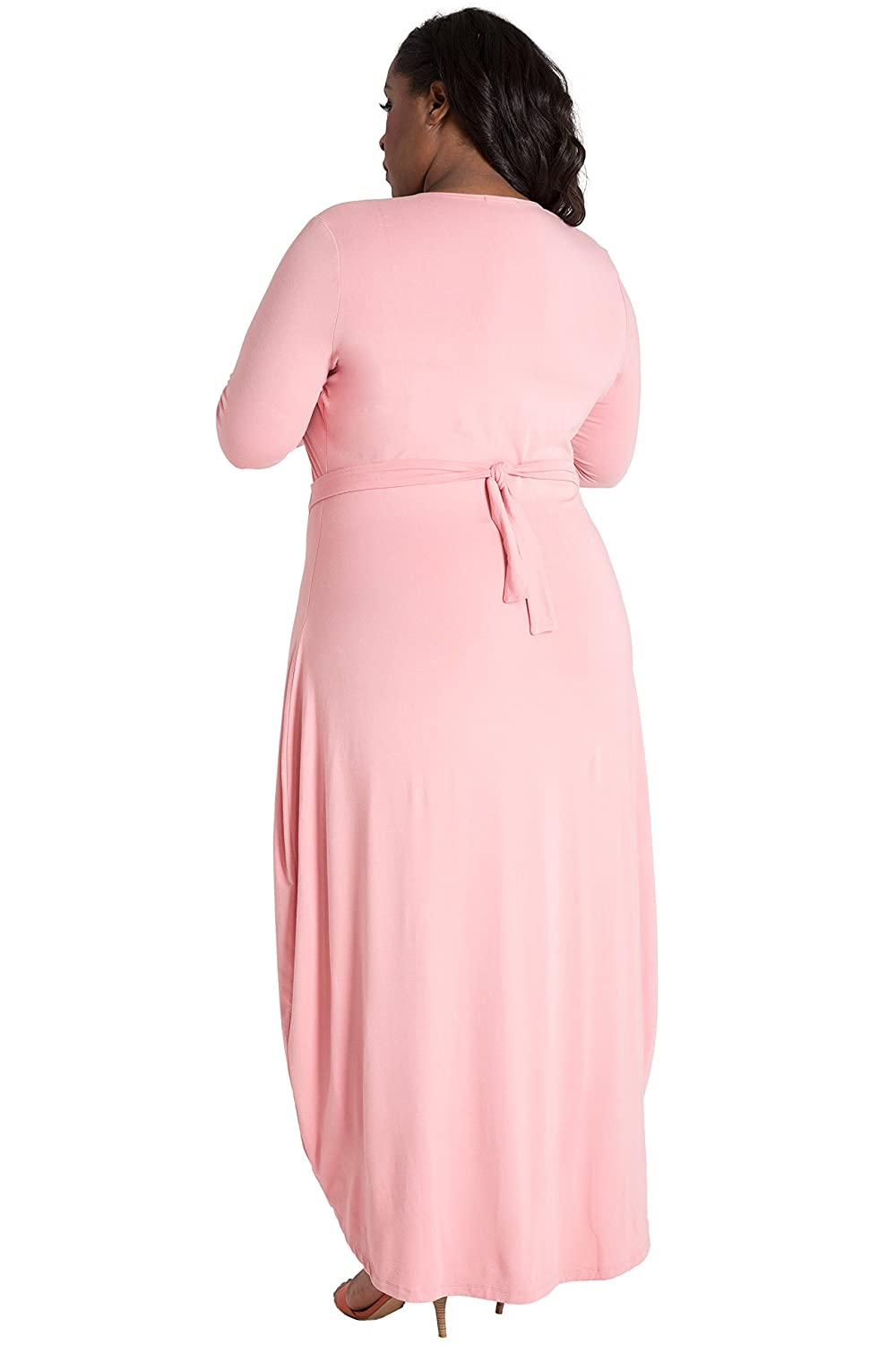 c850bf62e79 Poetic Justice Plus Size Curvy Women s Pink White Flare Sleeve Jersey Maxi  Dress at Amazon Women s Clothing store