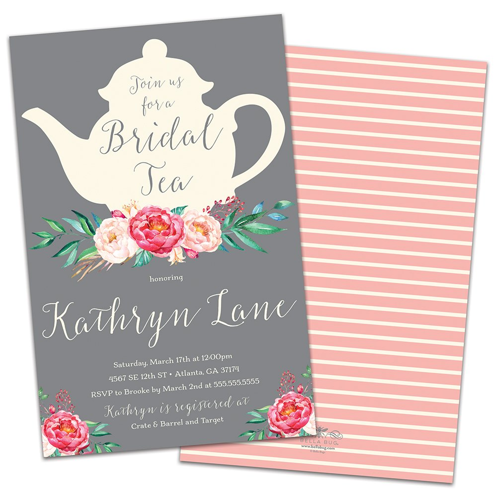 amazoncom tea time personalized bridal shower invitations health personal care