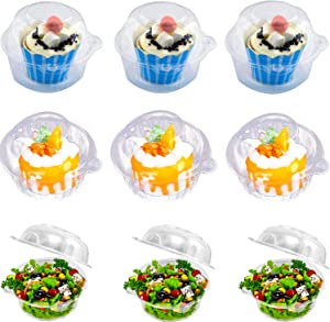 Individual Cupcake Container - Single Compartment Cupcake Carrier Holder Box with Lid Use for Sandwich Hamburgers Fruit Salad Party Favor Cake - Stackable - Deep Dome - Clear Plastic (Pack of 50)