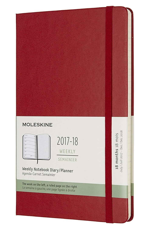 Moleskine DHF218WN3Y18 - Agenda semanal 2017-2018, 18 meses, tapa dura, color rojo
