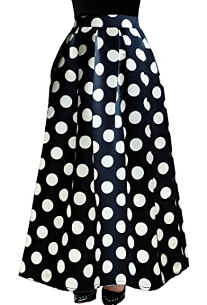 YSJ Women's Midi Skirt A-Line Pleated High Waist Polka Dot OL Skirts (Black