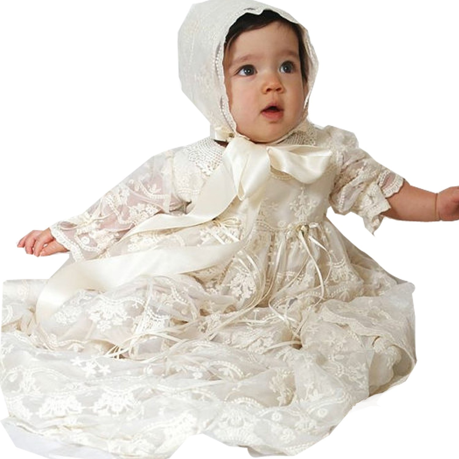 Newdeve Lace Tulle Ivory Long Baby Girls Christening Gowns