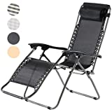 Charles Jacobs Deluxe Zero Gravity Foldable Reclining Chair Outdoor Garden Patio Sun Lounger with Recliner Lock and Durable Textoline (Black)