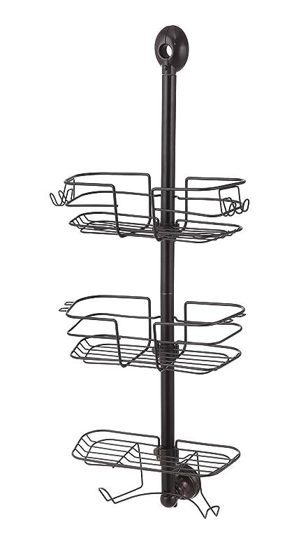 Amazon.com: HomeZone 3 Tier Adjustable Wire Shelf Shower Caddy, Oil ...