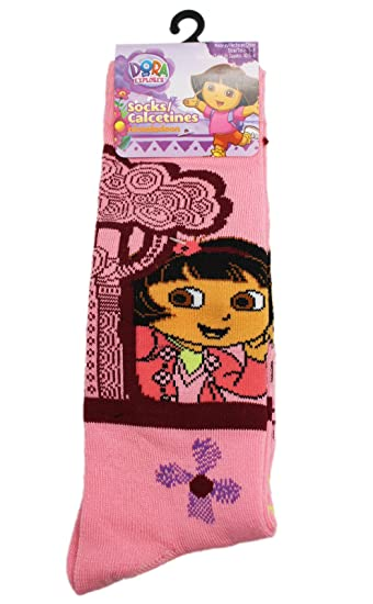 Dora the Explorer Light Pink Trees and Flowers Crew Socks (Size 6-8,