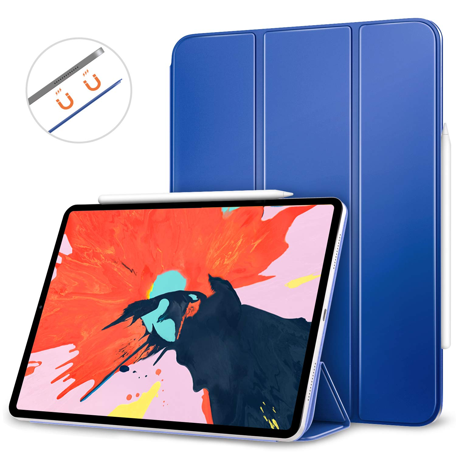 MoKo Smart Folio Case Fit iPad Pro 12.9' 2018 - [Support Magnetically Attach Charge/Pair] Slim Lightweight Smart Shell Stand Cover, Strong Magnetic Adsorption, Auto Wake/Sleep - Black