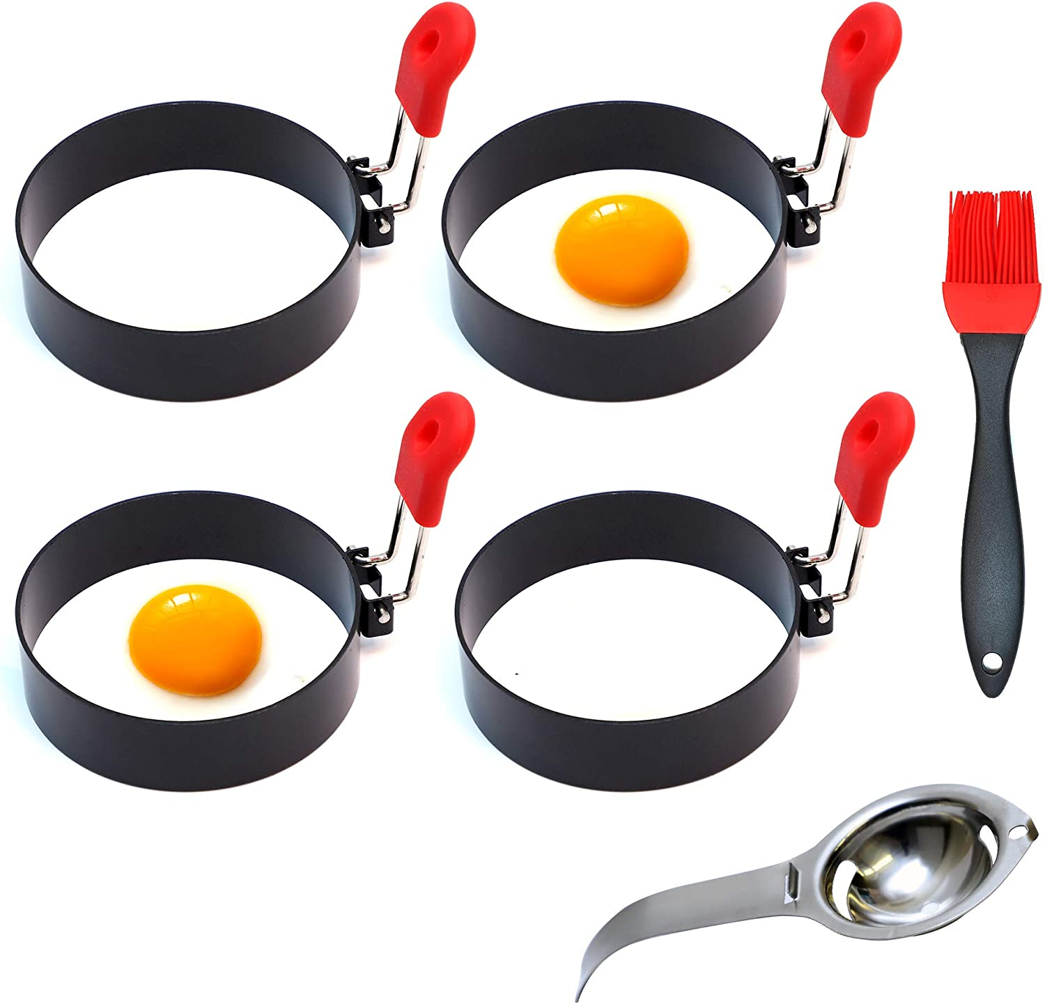 4 Pack Stainless Steel Nonstick Egg Rings For Frying Or Shaping Eggs - Round Egg Cooker Rings For Cooking Breakfast Omelette Egg McMuffin Sandwiches Maker Pancake Mold English Muffins 100% Food Grade
