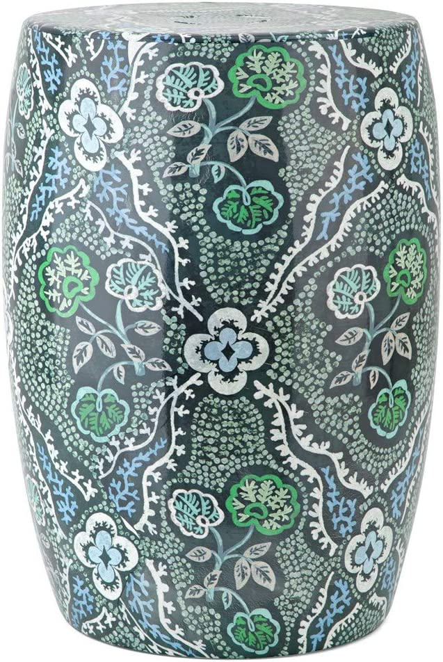 IMAX SG Blue and Green Floral Garden Stool, 18h x 13d, Ceramic, Blue and Green, by Stacy Garcia Home