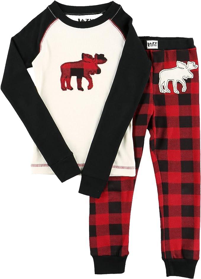 LazyOne Unisex Moose Plaid Kinder Pyjama Set Langarm