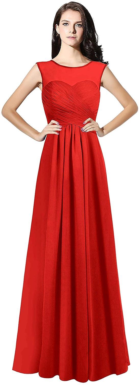 Red CladiyaDress Women Illussion Neck Long Bridesmaid Dress Evening Gowns C068LF
