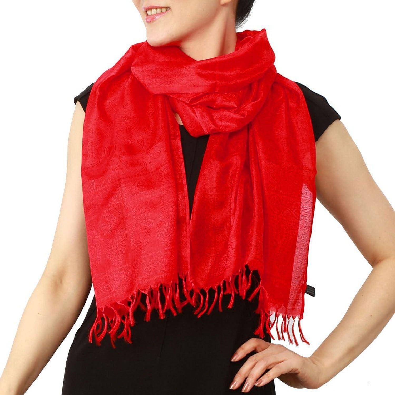 シルク スカーフ プレーン 赤 レッド 大判 還暦祝い  Amazon