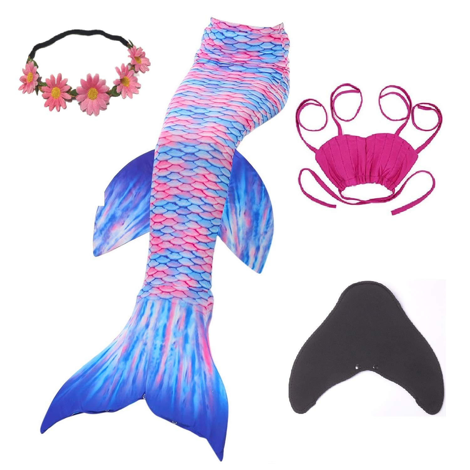 5 Piece Mermaid Tail Swimmable with Removable Fin Included Monofin and Flower Headband, Wet/Dry Outfit for Kids and Teens