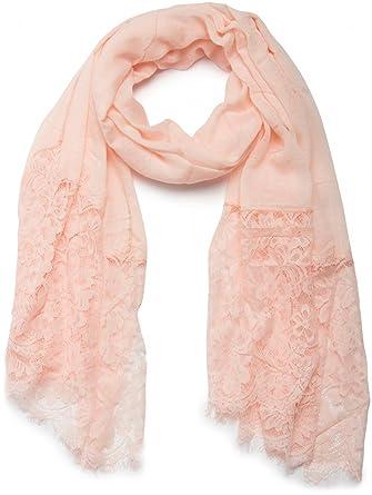styleBREAKER unifarbener Schal mit Spitzen Besatz, Blumen Muster und ...