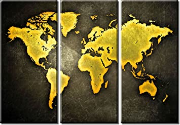 Amazon picture sensations framed huge 3 panel abstract gold picture sensations framed huge 3 panel abstract gold world map canvas art print sciox Gallery