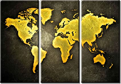 Amazon picture sensations framed huge 3 panel abstract gold picture sensations framed huge 3 panel abstract gold world map canvas art print gumiabroncs Gallery